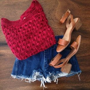 Hollister Cozy Knit Cute Red Fall Winter Sweater